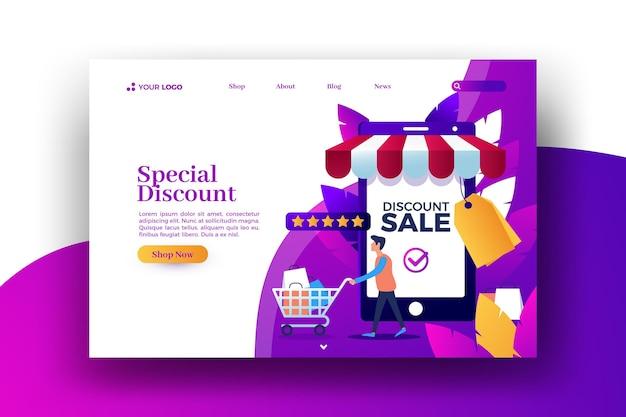 Página de inicio de la tienda en línea de venta local vector gratuito