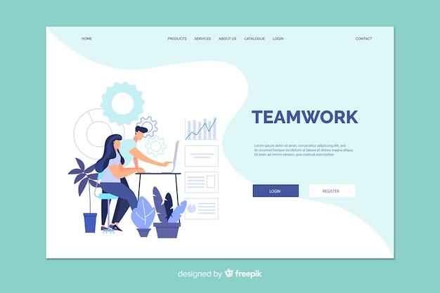 Página de inicio de trabajo en equipo con ilustración vector gratuito