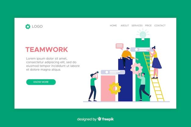 Página de inicio de trabajo en equipo con personajes ilustrados vector gratuito
