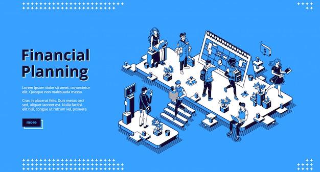 Página de inicio de vector de planificación financiera vector gratuito