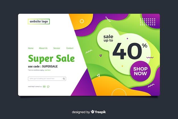 Página de inicio de venta abstracta vector gratuito