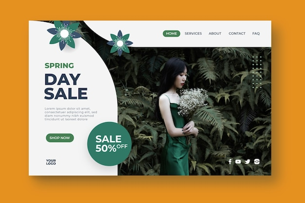 Página de inicio de la venta del día de primavera vector gratuito