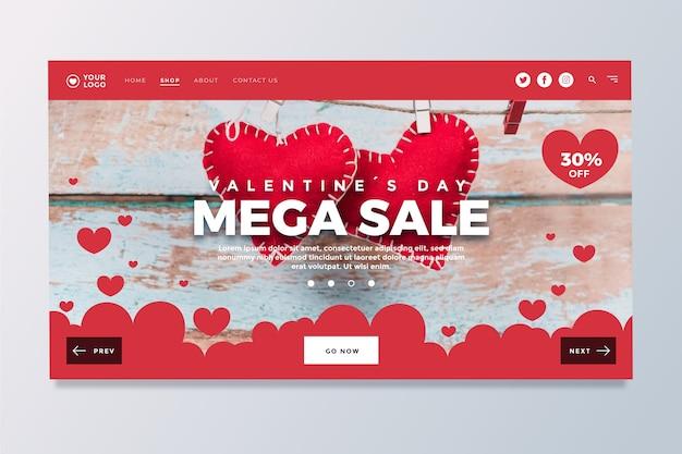 Página de inicio de la venta del día de san valentín vector gratuito