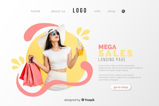 Página de inicio de venta con foto vector gratuito