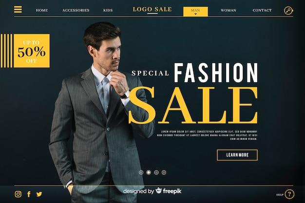 Página de inicio de venta de moda con foto vector gratuito