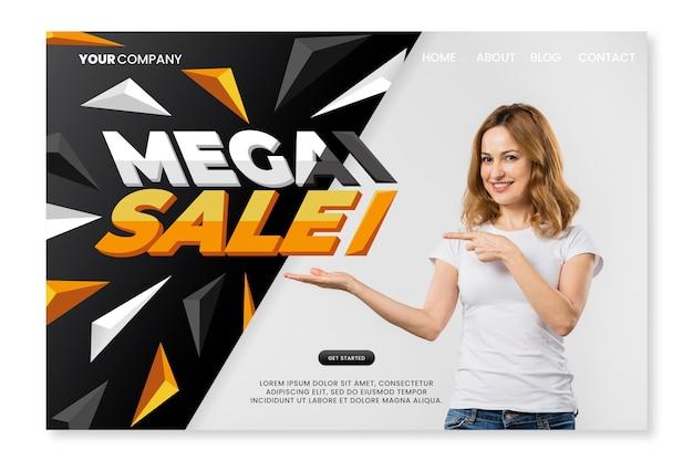 Página de inicio de ventas de plantilla abstracta vector gratuito