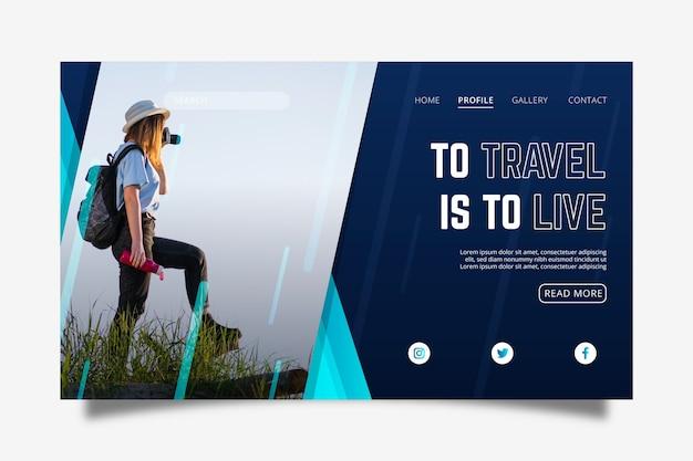 Página de inicio de viaje con foto vector gratuito