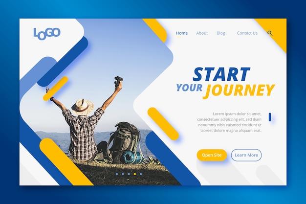 Página de inicio de viaje con foto Vector Premium