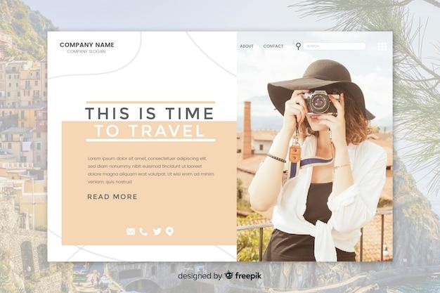 Página de inicio de viaje con imagen vector gratuito