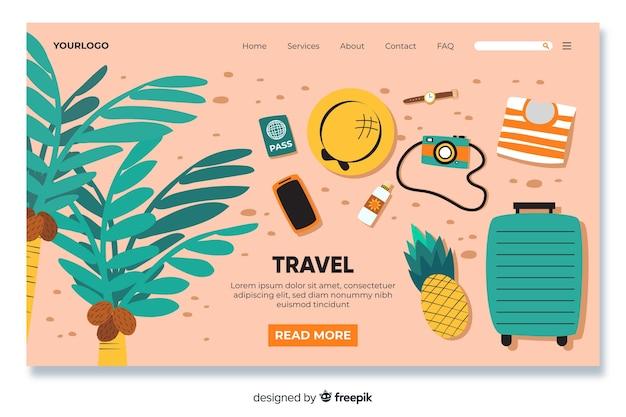 Página de inicio de viaje con objetos de viaje vector gratuito