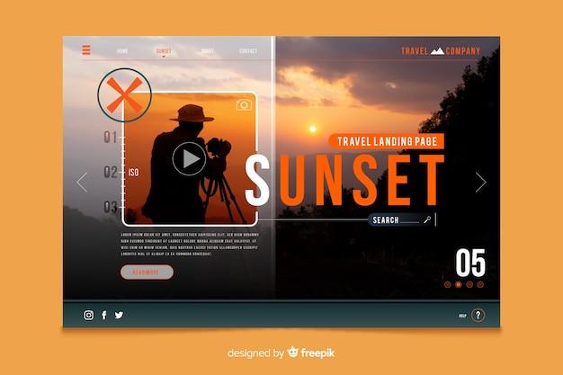 Página de inicio de viaje con plantilla de foto vector gratuito