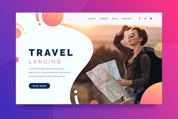 Página de inicio de viajes con foto vector gratuito