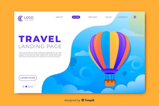 Página de inicio de viajes con globo aerostático vector gratuito