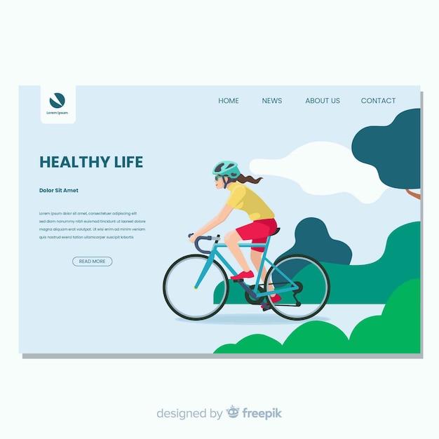 Página de inicio de vida saludable en diseño plano vector gratuito