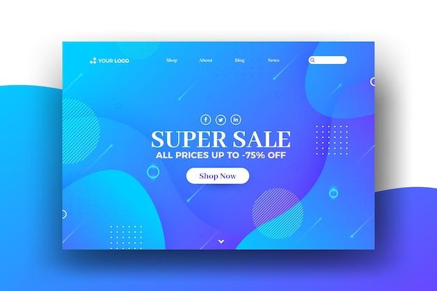 Página de inicio web de venta de efecto líquido y memphis vector gratuito
