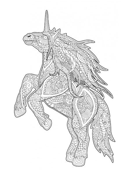 Página De Libro Para Colorear Para Adultos Con Unicornio De Dibujos