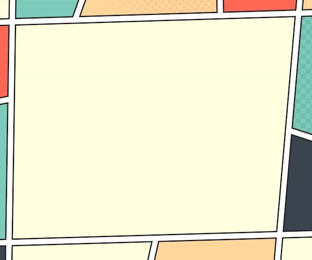 Página del libro de cómics. maqueta del vector en estilo del arte pop. ilustración colorida Vector Premium