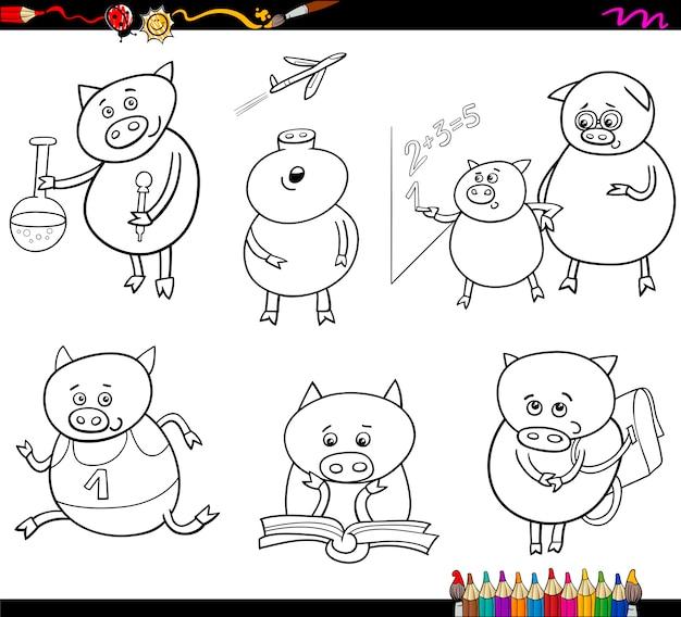 Página para colorear de dibujos animados   Descargar Vectores Premium