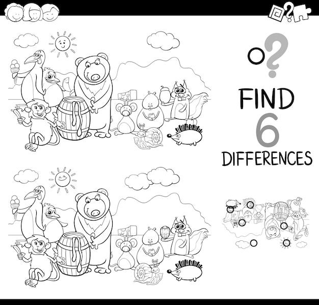 Página para colorear de las diferencias | Descargar Vectores Premium