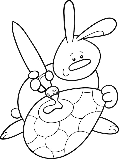 Página para colorear de pascua conejo pintura huevo   Descargar ...