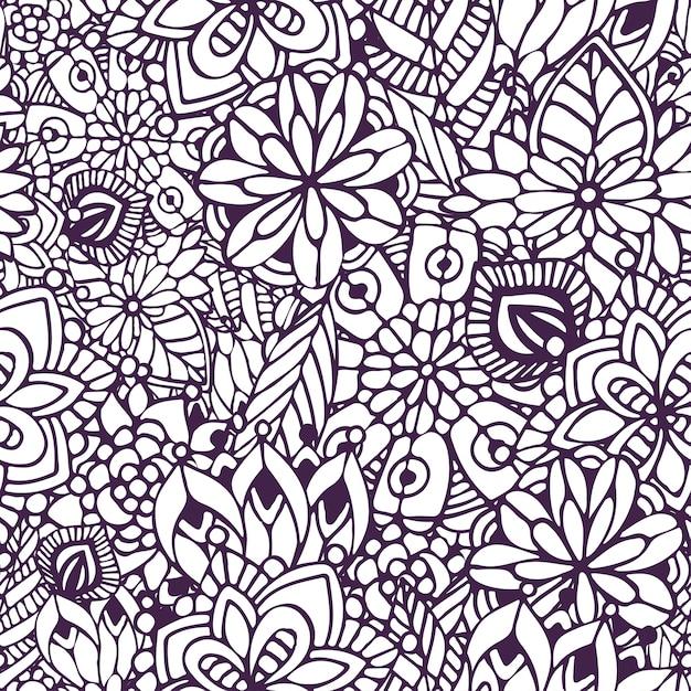 Página para colorear de zentangle. doodle de patrones sin fisuras en ...