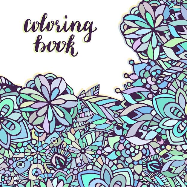 Página para colorear de zentangle. doodle patrón de flores en el ...