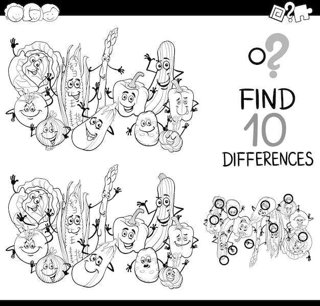 Página para colorear diferencia juego | Descargar Vectores Premium