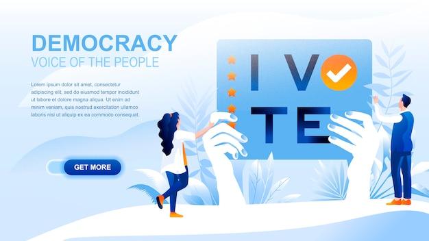 Página plana de democracy con encabezado, plantilla de banner. Vector Premium