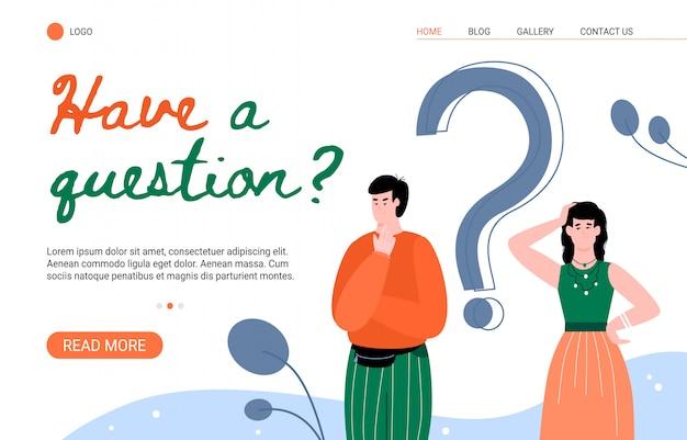 Página de respuesta de preguntas frecuentes y de clientes con ilustración plana de personas. Vector Premium