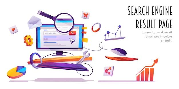 Página de resultados del motor de búsqueda, banner de dibujos animados serp. vector gratuito