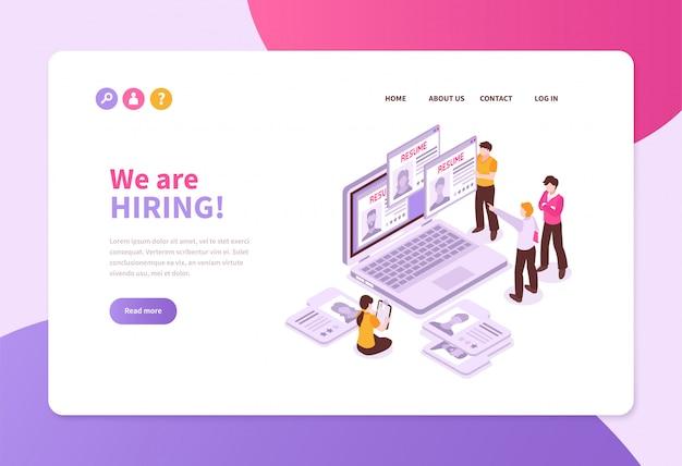 Página de sitio web de banner de concepto de reclutamiento de búsqueda de trabajo isométrica con hojas de solicitud de computadora portátil y personas con texto vector gratuito