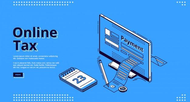 Página web de aterrizaje isométrico de impuestos en línea, impuestos vector gratuito