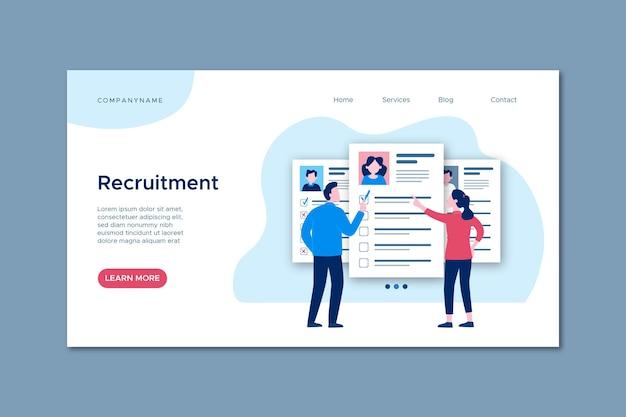 Página web de concepto de contratación con ilustraciones vector gratuito