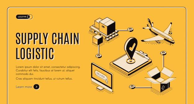Página web isométrica de la cadena de suministro de la empresa de logística vector gratuito