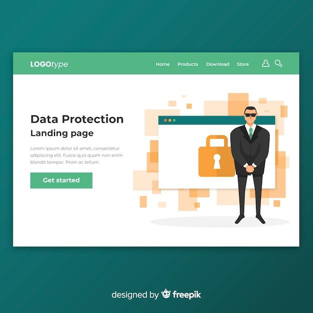 Página web de protección de datos vector gratuito
