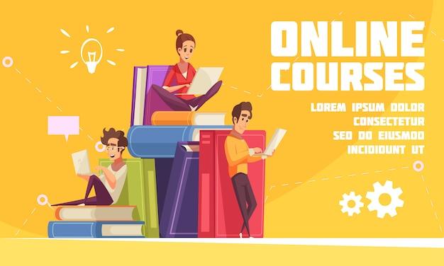 Página web de publicidad de dibujos animados de cursos en línea con estudiantes sentados en una pila de libros con computadoras portátiles vector gratuito
