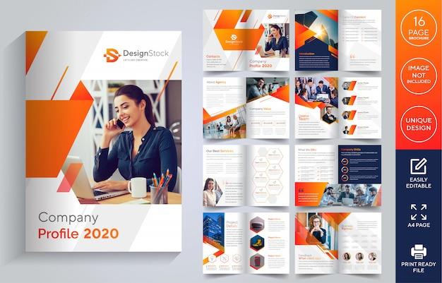 Páginas folleto de perfil de empresa Vector Premium