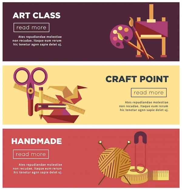 Páginas de internet de clase de arte, artesanía y proyectos hechos a mano. Vector Premium