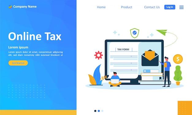 Pago de impuestos en línea para la página de destino web Vector Premium