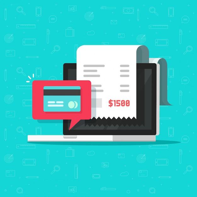 Pago en línea mediante tarjeta de crédito o débito en computadora portátil Vector Premium