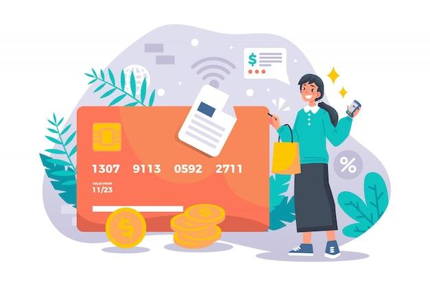 Pago con tarjeta de crédito de la página de inicio del concepto vector gratuito