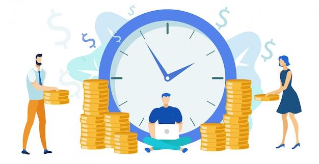 Pago de trabajo, salario plano ilustración vectorial Vector Premium