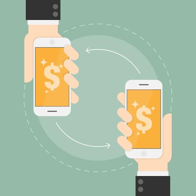 Pago por transferencia en teléfonos móviles vector gratuito