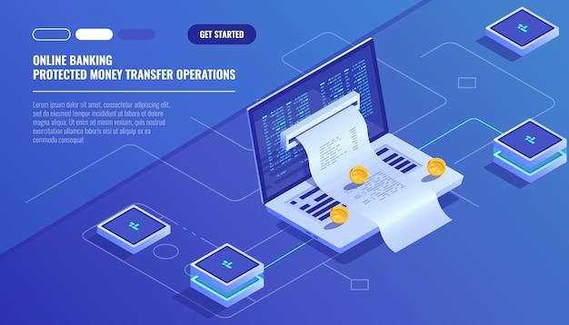 Pagos por internet, transferencia de dinero de protección, banco en línea, contabilidad presupuestaria vector gratuito