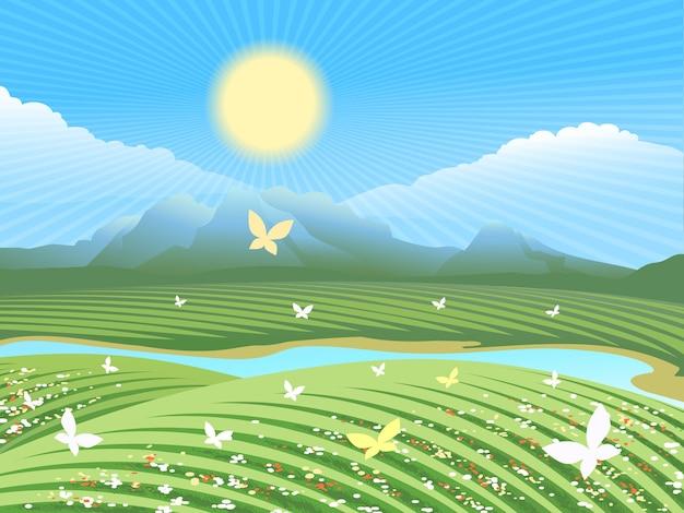 Paisaje agrícola de primavera. campo verde en las colinas con flores y mariposas cerca del río. vector gratuito