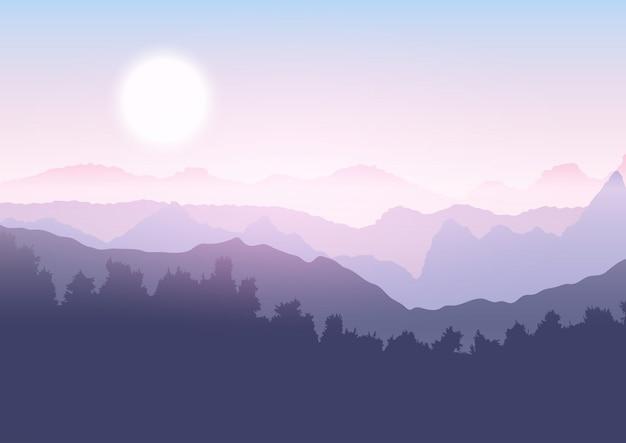 Paisaje de arboles y montañas. vector gratuito