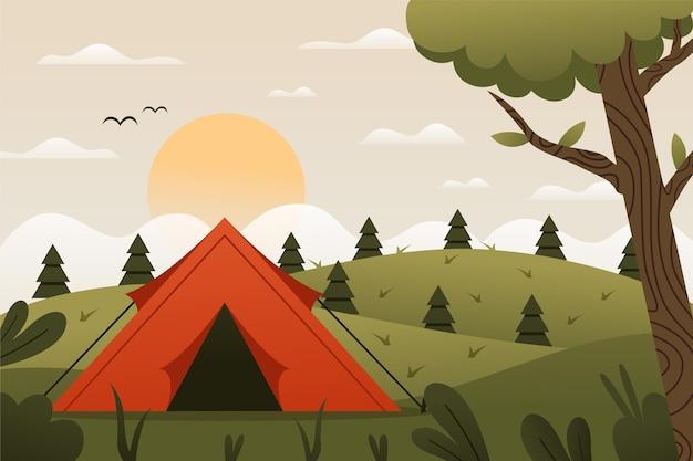 Paisaje de área de camping de diseño plano con carpa y colinas Vector Premium