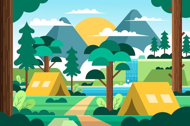Paisaje de área de camping de diseño plano con carpas y bosque vector gratuito