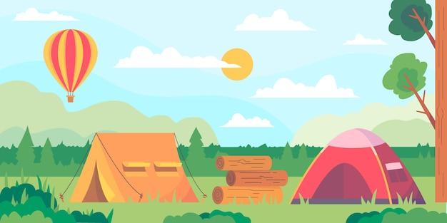 Paisaje de área de camping de diseño plano con carpas y globo aerostático vector gratuito