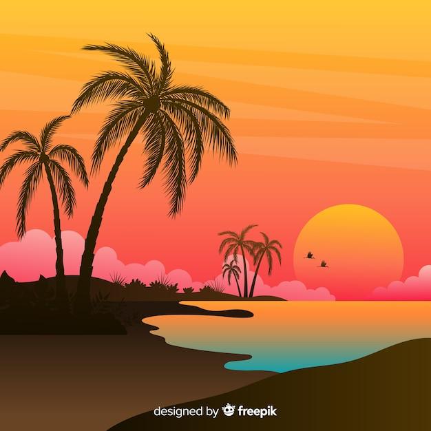 Paisaje de atardecer en la playa con degradado vector gratuito